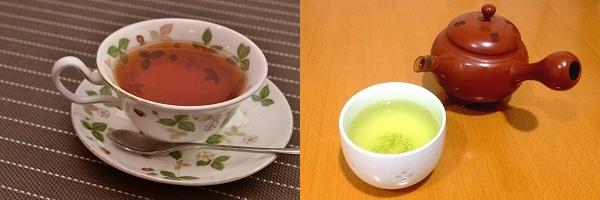 紅茶と緑茶の画像
