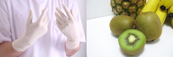 ゴム手袋とキウイとバナナ
