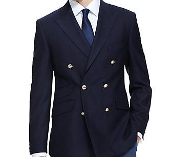 ダブルブレストスーツのフロントボタン