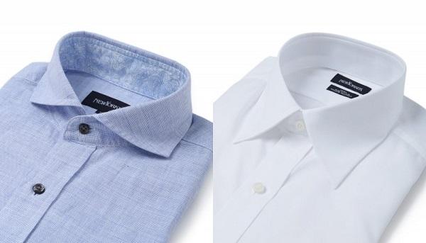 カッタウェイカラーシャツとレギュラーカラーシャツとの比較