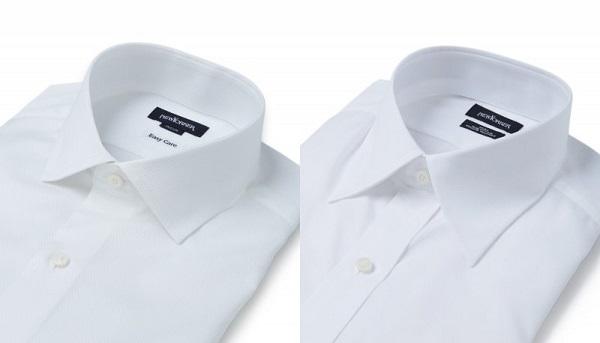 セミワイドカラーシャツとレギュラーカラーシャツとの比較