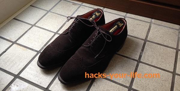 スコッチグレインのスエード靴