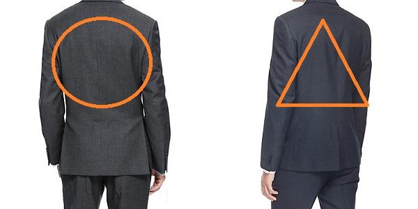 スーツの着丈の比較